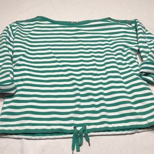 Anne Klein green/white stripe top, XL